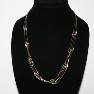 Beautiful vintage gold and stone necklace 4 strand